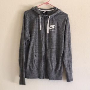 Nike Gray Zip Up Hoodie Sweater Size L